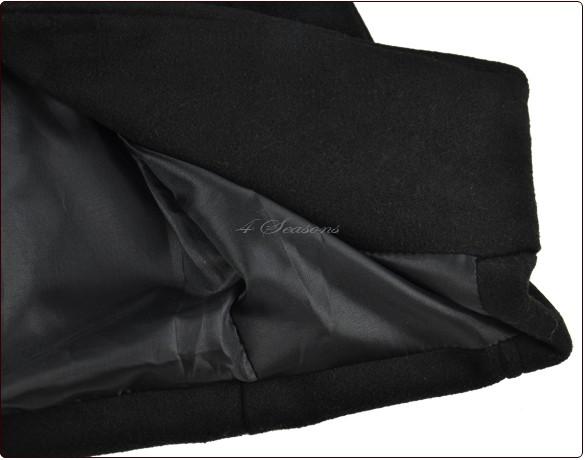 Женщины balck мех воротник двубортная мыс пальто мех куртка шерсть одежда F 25