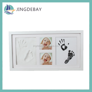 Baby Picture Frame Baby Footprint Kit Solid Wood Photo Frame with Safe Acrylic Front, Non Toxic and Safe Clay