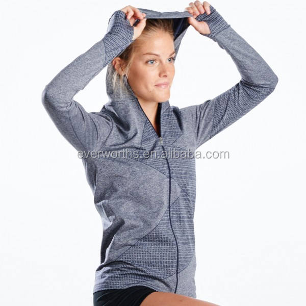Lightweight breathable wicking thermal full zip long sleeve seamless hooded jackets