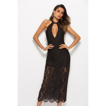 Accept Custom Made Summer Off Shoulder Halter Neck Lace Long Dress Sexy Women Party Dress