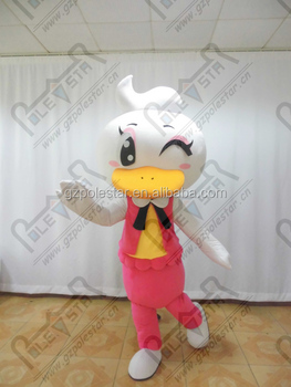 pink dress duck mascot costume