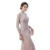 Unique Design Pink Long Gown Popular Jewel Chiffon Beading Sheath Floor Length Zipper Long Sleeve Women Prom Dress