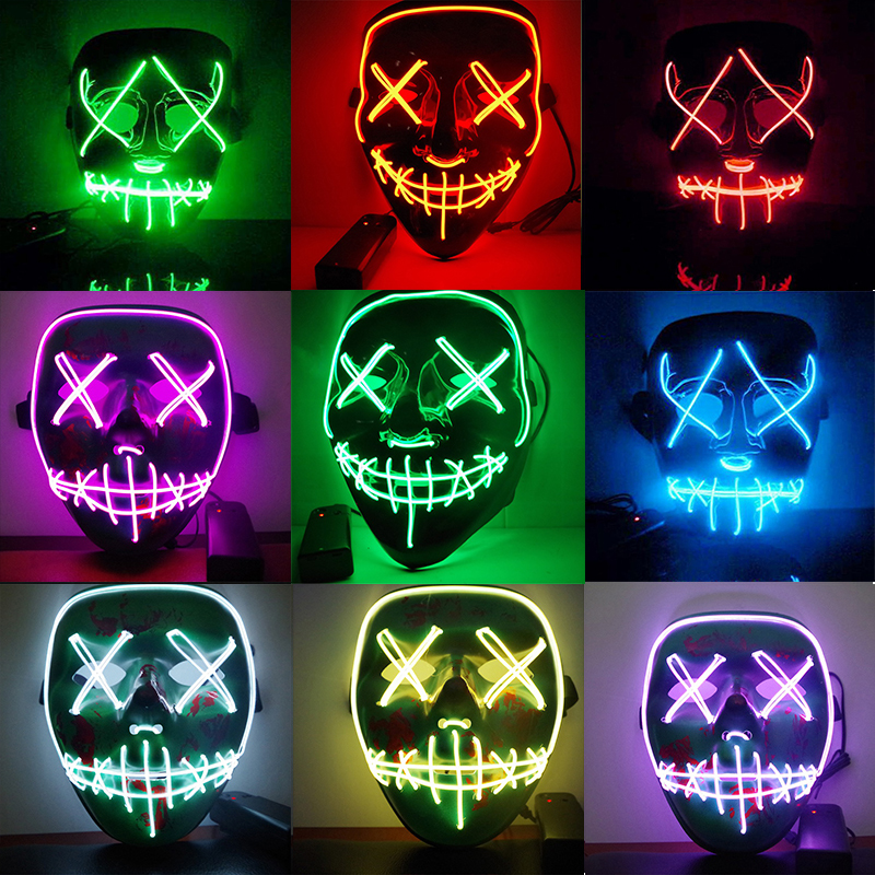 Dropshipping El Wire Mask Light Up Neon Skull Led Mask For Halloween Party 2018 Theme Cosplay Masks Ship From Us Boys Costume Accessories