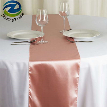 Wedding Banquet Table Decorations Rose Gold Satin Runner
