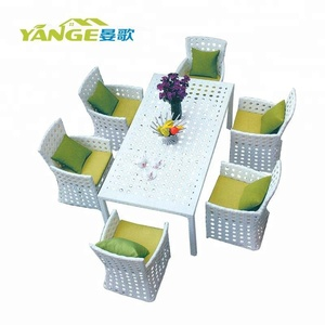 HD designs outdoor rattan 6chairs dining table set