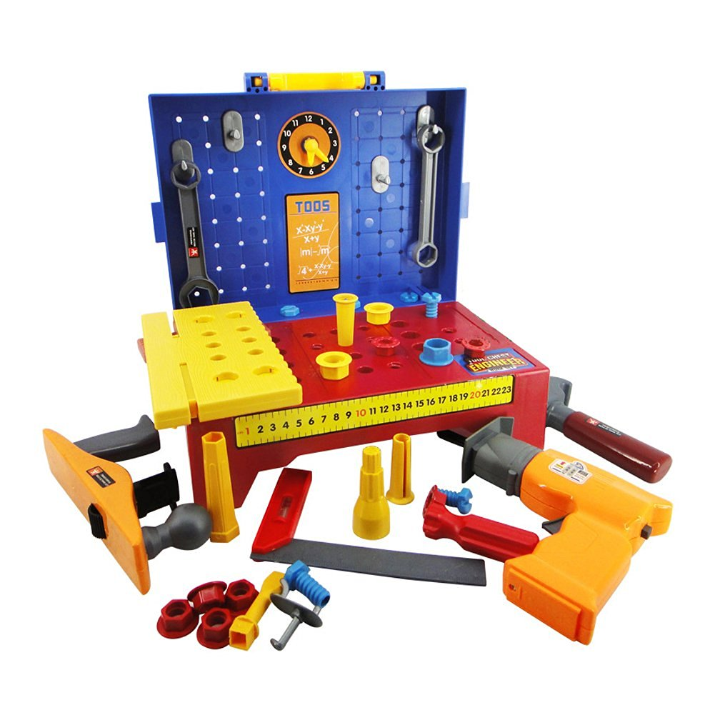 Children's Portable tool chest engineer work set,boys electric maintenance toolbox toy drill set.