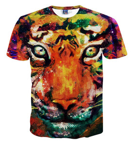 Stylish full print psychedelic comfort colors 3d sublimation tiger t shirt