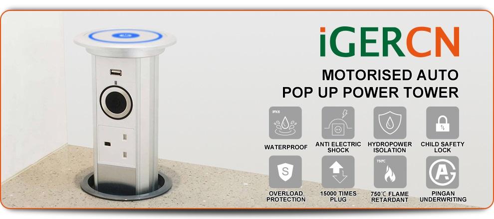 Audio motorized Pop Up Power Tower for DELUXE FLIGHT waterproof domotica socket