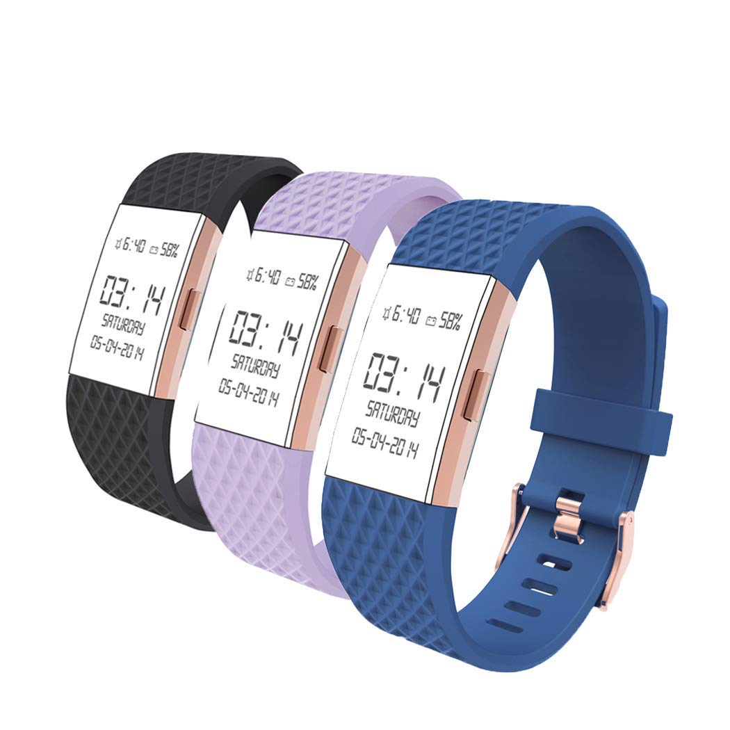 Wearlizer Compatible Fitbit Charge 2 Bands Women Rose Gold Buckle Special Edition Lavander Rose Gold Replacement Fitbit Charge 2 Accessories