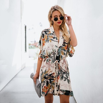 Office Lady Women's Shirt Dress Cotton Casual Short Sleeve Floral Print Loose Tops Mini Short Dresses Boho Y10982