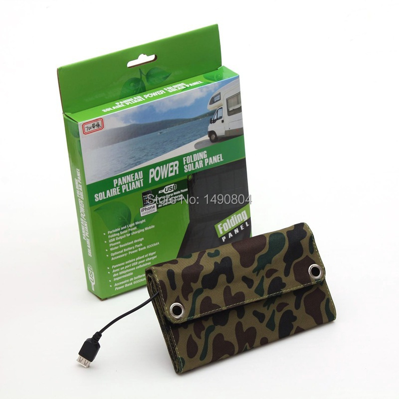 7W A Solar power bank Charger waterproof folding sun panels with usb For mobile phone Android Samsung