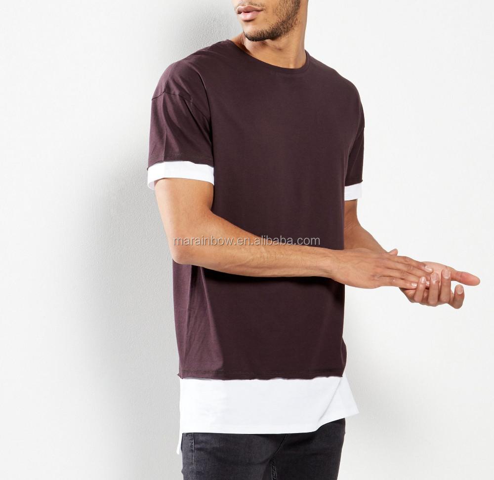 Fashion Design Mens Longline Two Tone T Shirt Elongated Panel T