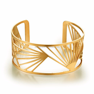 New style Womens Custom Gold Plated Stainless Steel Bangle