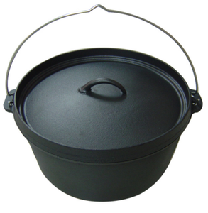 Pre-Seasoned Cast Iron Camping Flange lid Deep Dutch Oven