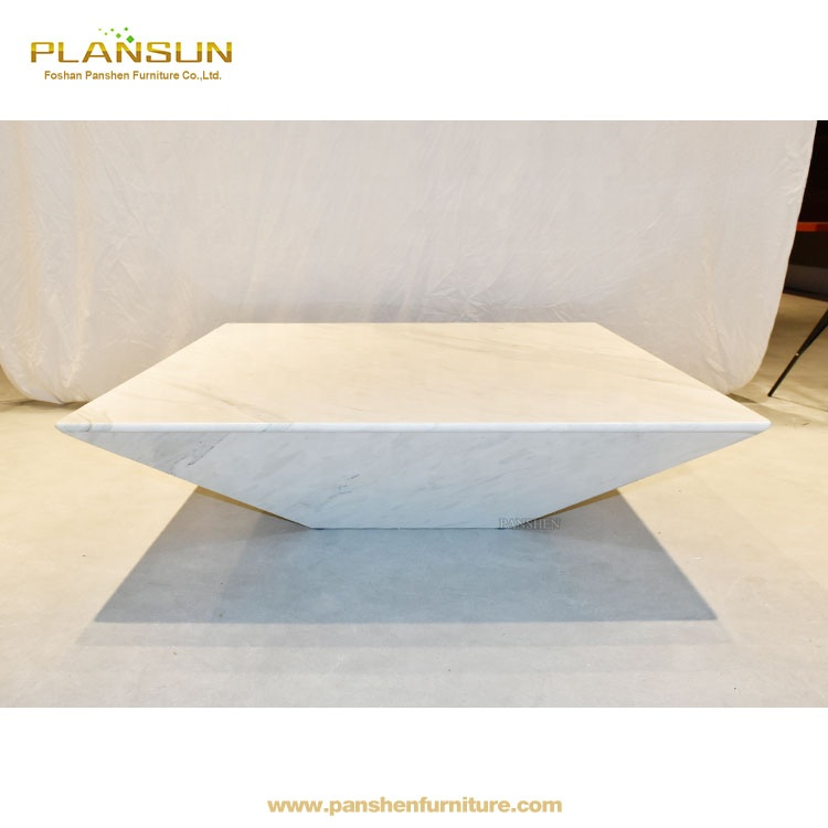 Interesting Futuristic Coffee Table Crafted Of Polished Lythos Marble Center Design Geometric