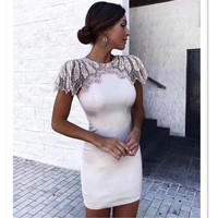 Fashion Bandage Dress 2018 Women Celebrity Evening Party Dresses Vestidos Sexy Beads Embellished Mini Runway Dress