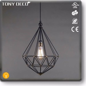 Modern Industrial Led Pendant Lamp , Outdoor Geometric Metal Cage Chandelier