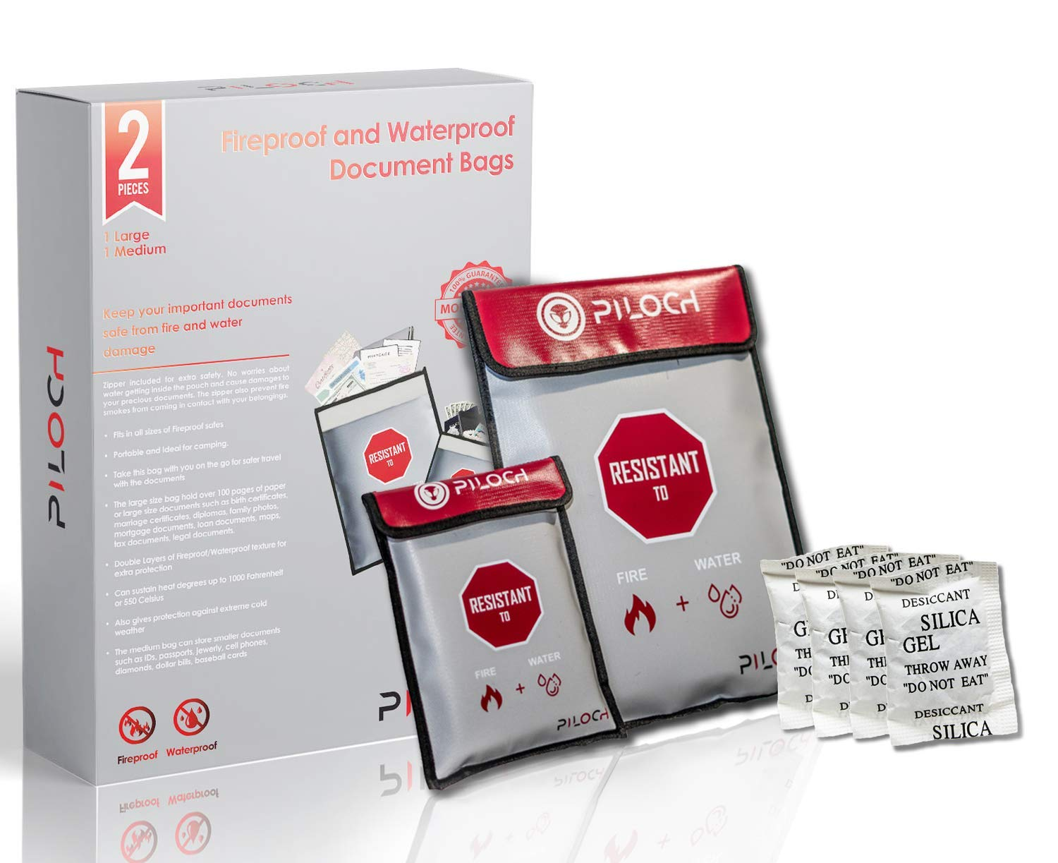 "Fireproof Document Bags|Waterproof, Comes with 1 Large (15""x11"") + 1 Medium (9""x7"") Fireproof Document Bag