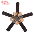 2017 classic european style design restaurant pull rope remote control ceiling fan lights with lamp