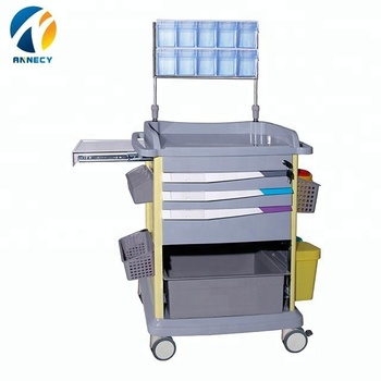 AC-AT029 hot sale colorful drawer steel patient plastic medical equipment anesthesia trolley cart prices
