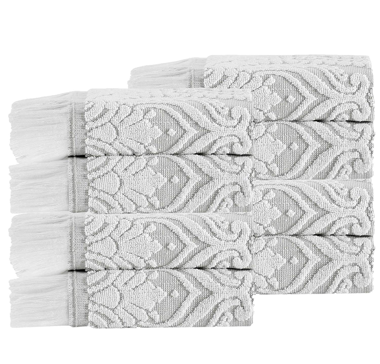 8 Piece Beige Jacquard Towel Set With 12 X 12 Inches Wash Cloths, Ivory Damask Textured Plush Long Staple Quick-drying Luxurious Elegant Eye-catching Fingertip Towels Guest Towels, Turkish Cotton