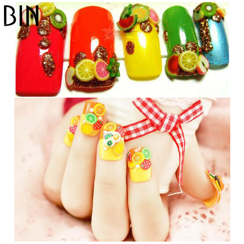 BIN 3d design polymer clay nail sticker,nail decal, 12 fruit design per wheel