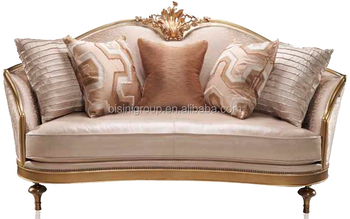 Luxury Replicated Venetian Gold Two Seater Sofa With Ivory Soft Fabric Le Italian Villa