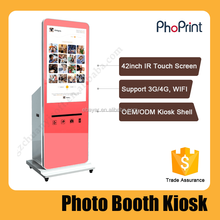 2015 draagbare vending <span class=keywords><strong>photosmart</strong></span> printer 6 inch foto led/lcd big screen reclame-speler mok foto drukmachine