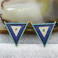 CH-MAC0182 Fashion Blue CZ pave beads pendant,CZ micro pave beads triangle pendant,fashion triangle charm with two rings pendant