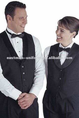 Custom hotel waiter waistcoat ,black simple formal waiter vest