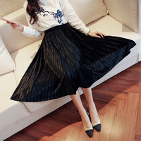 2017 Summer New Arrival Women Skirts Pleated Knee-Length Solid A-Line Skirts All Match Lady Skirt