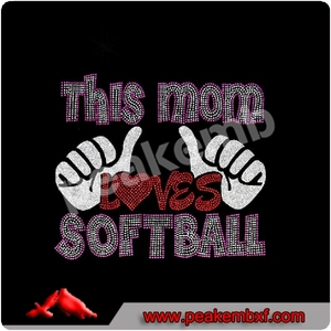 Glitter Iron on rhinestone transfers customised This Mom loves Softball
