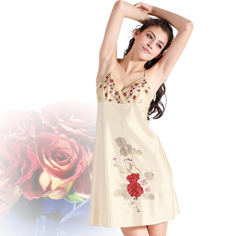 Get Quotations · 2015 Summer Sleep Dress V Neck Embroidery Sexy Charming Women  Nightwear Plus Size Sexy Slip Pajama ac8afbe90