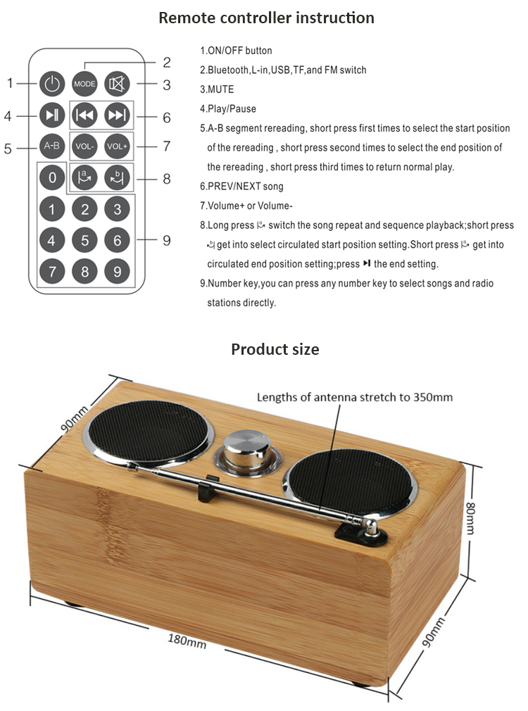 Cheap price bluetooth wireless speaker high quality speaker bluetooth portable bamboo wooden bluetooth speaker with radio