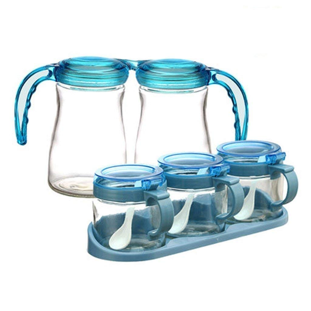 PLLP Seasoning Bottle Kitchenware Glass Seasoning Tank Household Commodity Seasoning Box Seasoning Tank Seasoning Bottle Combination Set (6 Assemblies)