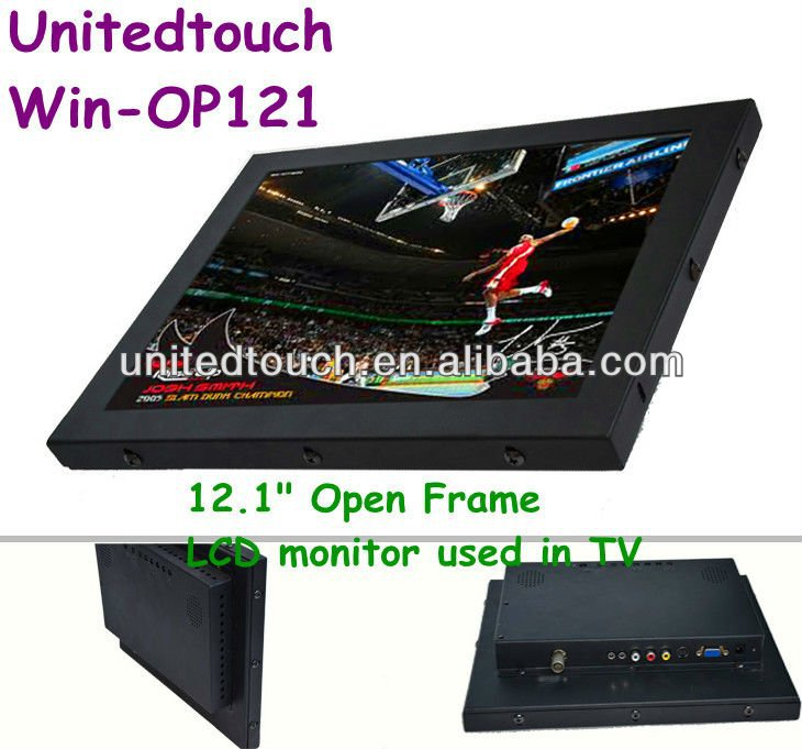 "12.1""(16:9)multi touch open frame industry LCD monitor with capacitive touch screen panel"