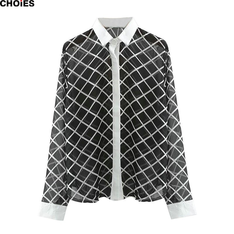 CHOIES Women Shirt 2015 Black and White Plaid Contrast ...