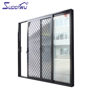 aluminium security mesh grills design aluminum sliding door for balcony with security system China manufacturer