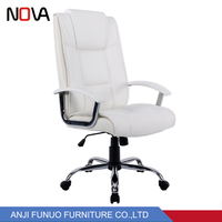 Cheap swivel chair office PU leather revolving white leather chair for sale