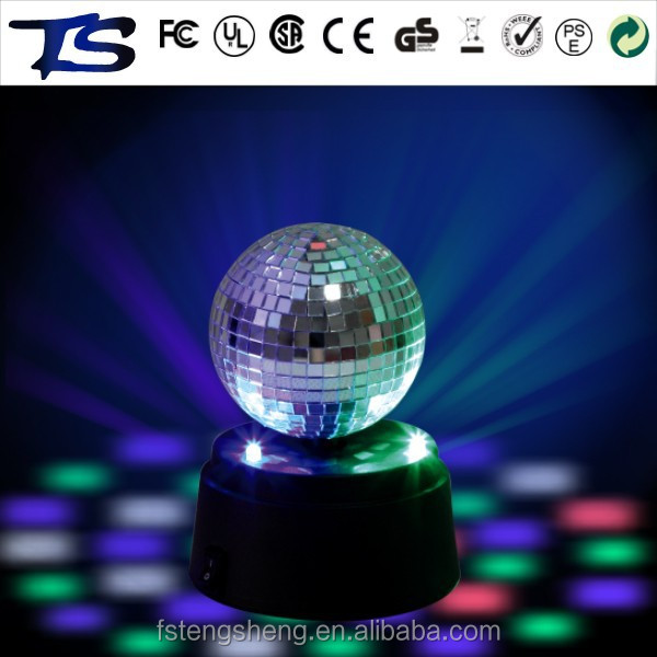 360 degree rotating LED disco mirror ball with battery motor