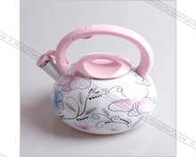 enamel whistling tea kettle