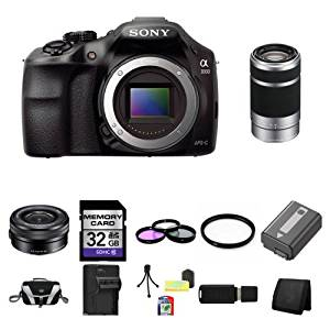 Sony A3000, ILCE-3000, ILCE-3000LB, 20. 1MP Interchangeable Lens Camera Black (Body) with Sony 16-50mm f/3.5-5.6 OSS Alpha E-mount Retractable Zoom Lens SELP1650 and Sony E 55-210mm F4.5-6.3 Lens for Sony NEX Cameras SEL55210 32GB Package 3