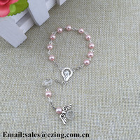 2017wholesale glass beads imitation pearl pink religious rosary bracelet, cathoic bracelet with Mary centerpiece & angel wing