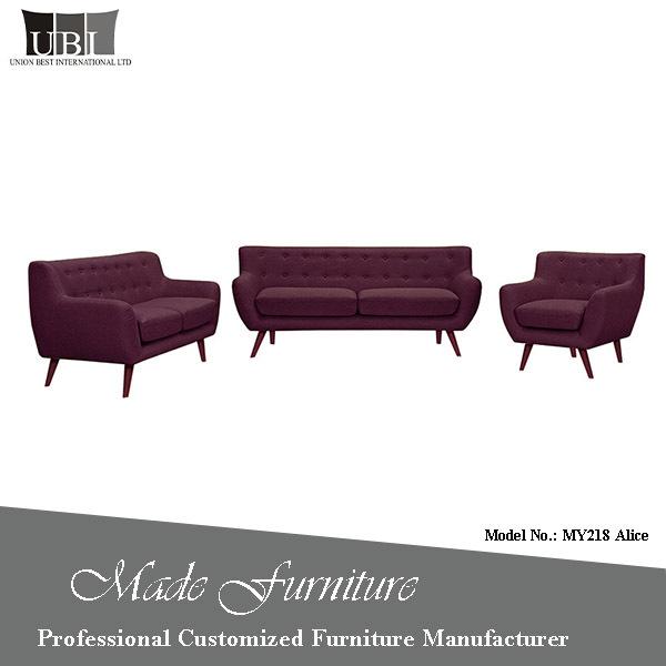 Alibaba Good Quality Fabric Sofa Design Fashion Button Tufted Sofa Set