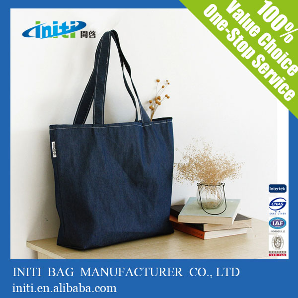 Printed Cotton Canvas Tote Jean Denim Bag for Shopping
