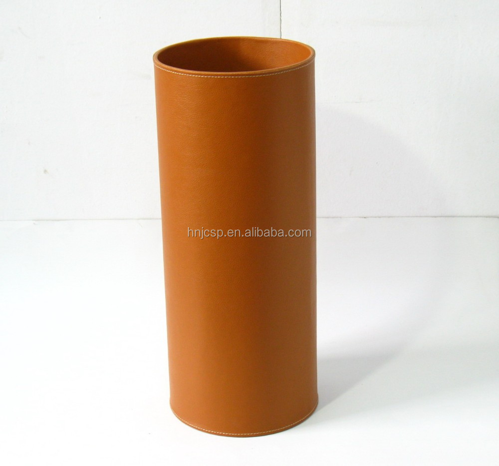 Decorative plain camel faux leather round umbrella stands holder
