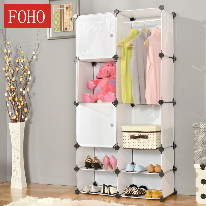 Pure White Girls Wardrobe with Shoe Cabinet FH-AL01029-2