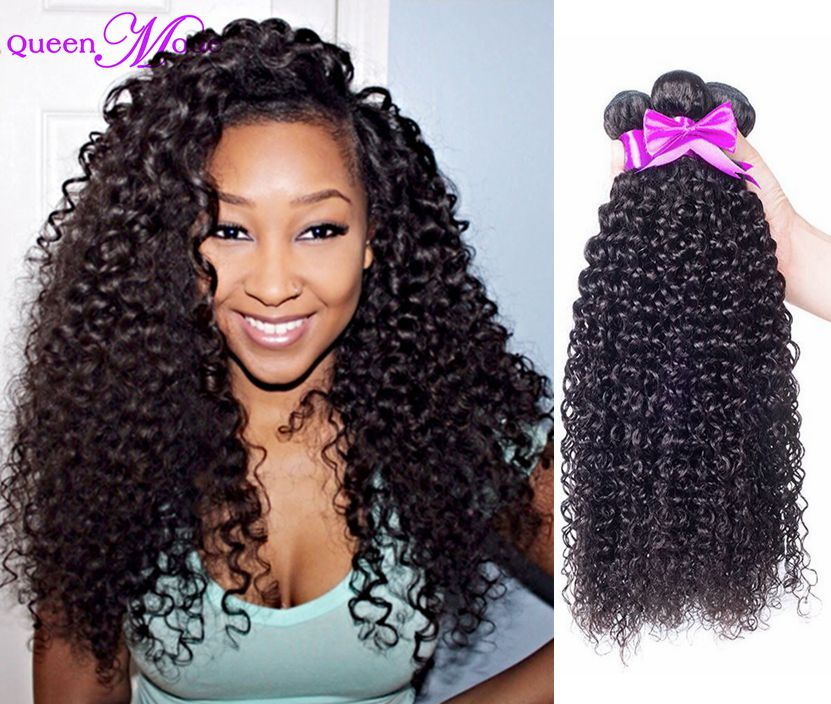 Cheap price nature black virgin hair kinky curly weave