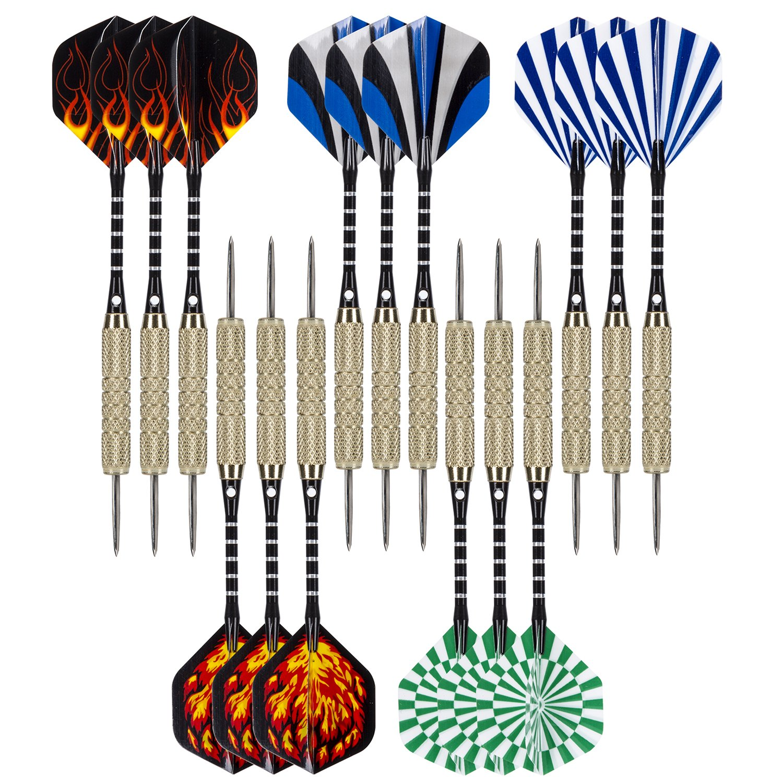COVASA 15 Pack Steel Tip Darts Sharpener Included Tip Darts with Dart Flights (5 Styles)