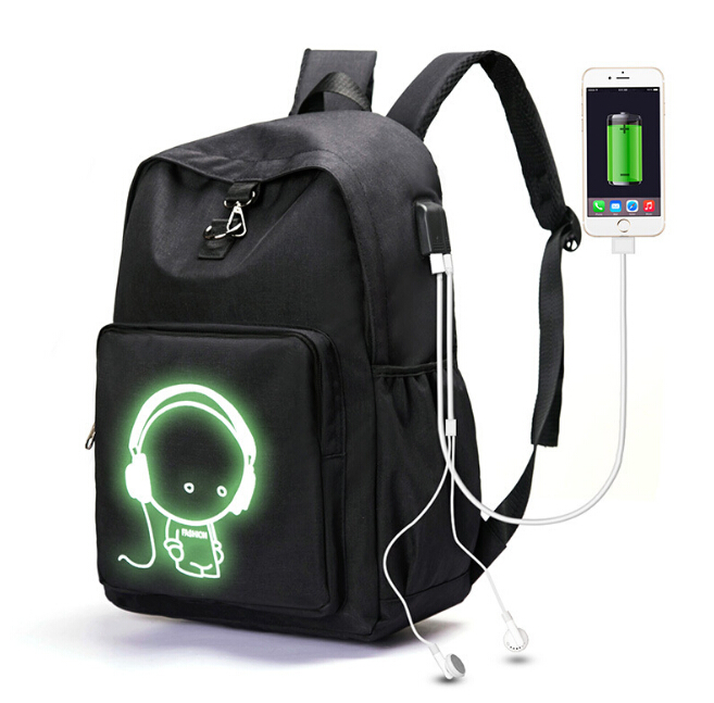 2018 cool version of luminous bag Hot explosion models shoulder USB backpack